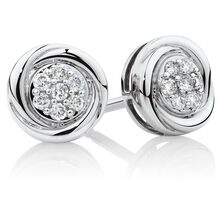 Swirl Stud Earrings with Diamonds in 10kt White Gold