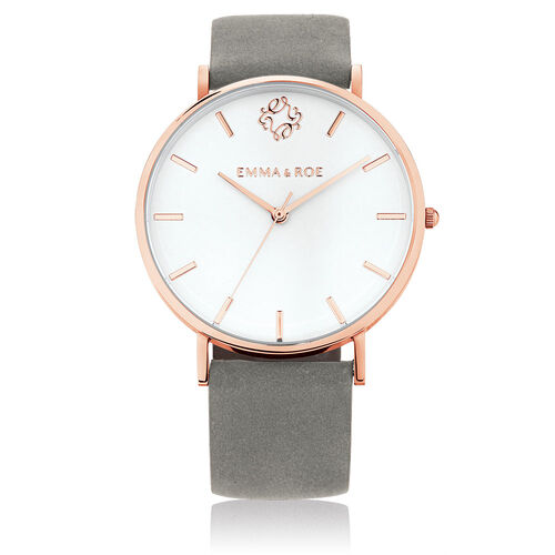 Rose Tone Stainless Steel Watch with Grey Suede Leather