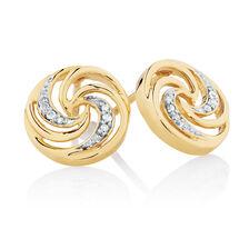 Swirl Stud Earrings with Diamonds in 10ct Yellow Gold