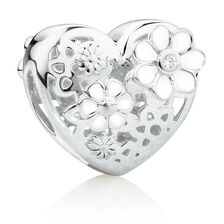 Daisy Heart Charm with Cubic Zirconia Enamel in Sterling Silver