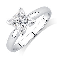 Evermore Colorless Solitaire Engagement Ring with a 1 1/2 Carat Diamond in 14kt White Gold