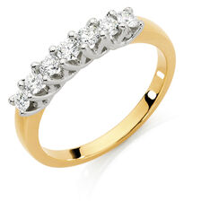Wedding Band with 1/2 Carat TW of Diamonds in 18ct Yellow & White Gold