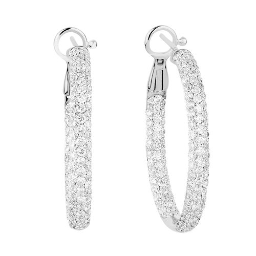 Hoop Earrings with 3 Carat TW of Diamonds in 14kt White Gold