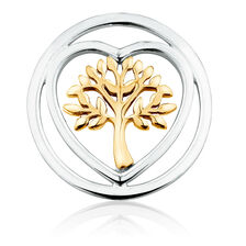 Tree of Life Coin Pendant Insert in Sterling Silver & 10ct Yellow Gold