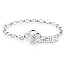 "19cm (7.5"") Padlock Bracelet with Cubic Zirconia in Sterling Silver"