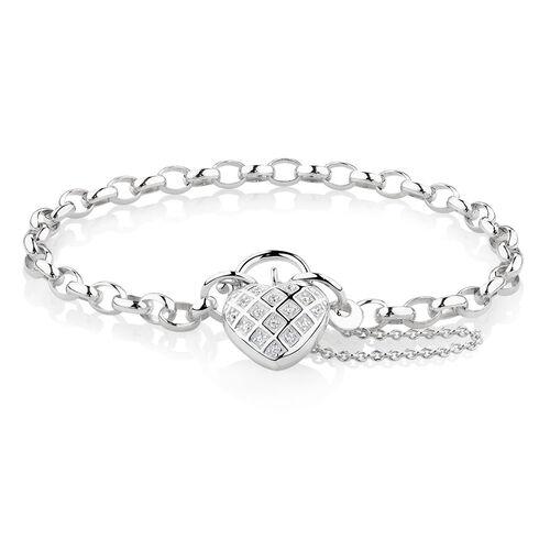 "19cm (7.5"") Padlock Bracelet with Cubic Zirconia in Sterling Silver"