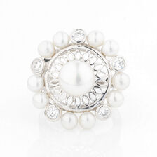 Online Exclusive - Circle Ring with Cubic Zirconia & Cultured Freshwater Pearl in Sterling Silver
