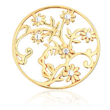 Diamond Set 10ct Yellow Gold Flower & Leaf Coin Pendant Insert