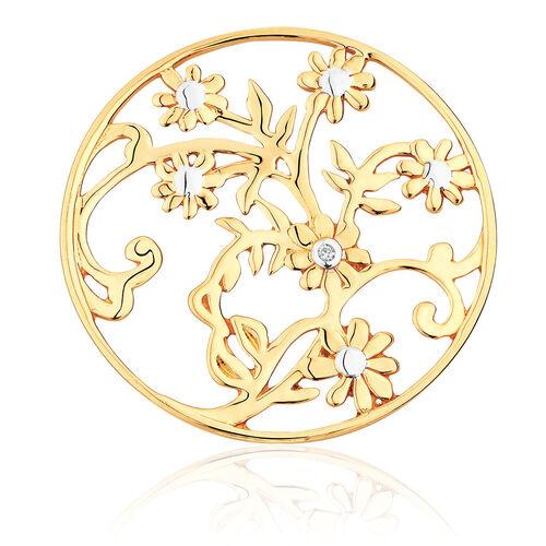 Diamond Set 10ct Yellow Gold Flower & Leaf Coin Pendant Insert