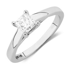 Ideal Cut Solitaire Engagement Ring with a 3/4 Carat Diamond in 14kt White Gold & Platinum