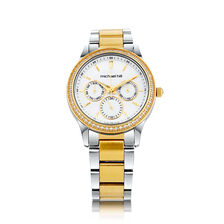 Ladies Multi-Function Watch with Cubic Zirconias & Mother of Pearl in Silver & Gold Tone Stainless Steel