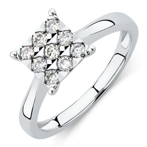 Engagement Ring with 1/3 Carat of Diamonds in 10ct White Gold