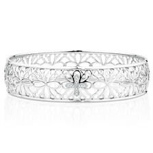 Bangle with 1/20 Carat TW of Diamonds in Sterling Silver