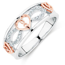 Infinitas Ring with Diamonds in Sterling Silver & 10kt Rose Gold
