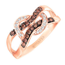 Le Vian Ring with 1/3 Carat TW of Chocolate & Vanilla Diamonds in 14kt Rose Gold