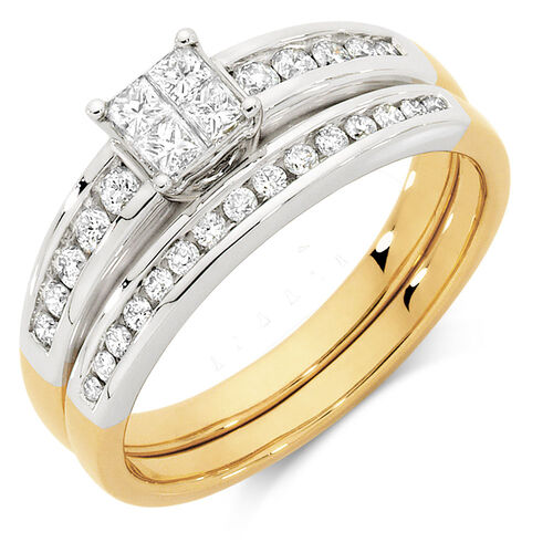 Bridal Set with 1 2 Carat TW of Diamonds in 10ct Yellow & White Gold