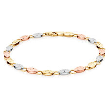 "19cm (7.5"") Fancy Bracelet in 10ct Yellow, White & Rose Gold"
