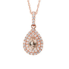 Michael Hill Designer Fashion Pendant with Morganite & 1/5 Carat TW of Diamonds in 10kt Rose Gold