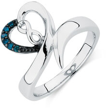 Infinitas Ring with 1/20 Carat TW of Enhanced Blue Diamonds in Sterling Silver