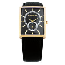 Ladies Watch with Crystals in Gold Tone Stainless Steel & Black Leather