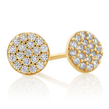 Round Stud Earrings with Cubic Zirconia in 10ct Yellow Gold