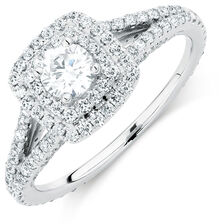Michael Hill Designer Arpeggio Engagement Ring with 1 Carat TW of Diamonds in 14kt White Gold