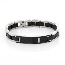 Online Exclusive - Men's Bracelet with Cubic Zirconia in Silver & Black Stainless Steel