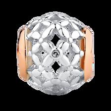Diamond Set, Sterling Silver & 10kt Rose Gold Floral Filigree Charm