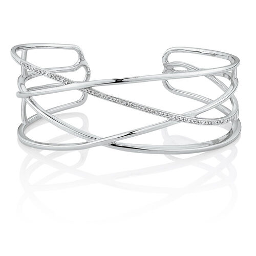 Crossover Cuff with Diamonds in Sterling Silver