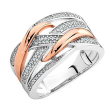Ring with 1/5 Carat TW of Diamonds in 10kt Rose Gold & Sterling Silver