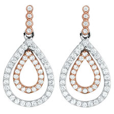 Drop Earrings with 1 Carat TW of Diamonds in White & Rose Gold