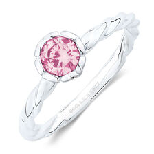 October Stacker Ring with Pink Cubic Zirconia in Sterling Silver