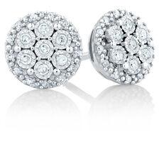 Stud Earrings in 0.20 Carat TW of Diamonds in Sterling Silver