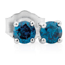 City Lights Stud Earrings with 1/4 Carat TW of Enhanced Blue Diamonds in 10kt White Gold