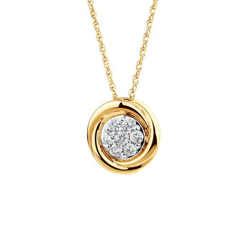 Swirl Pendant with Diamonds in 10ct Yellow Gold