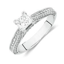 Side Accent Ring with 1 Carat TW of Diamonds in 18ct White Gold