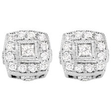 Halo Stud Earrings with 1/4 Carat TW of Diamonds in 10kt White Gold