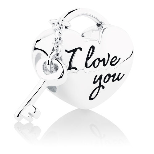 I Love You' Lock & Key Charm in Sterling Silver
