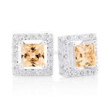 Champagne Cubic Zirconia & Sterling Silver Stud Earrings with Square Enhancers