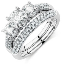 Online Exclusive - Bridal Set with 1 1/2 Carat TW of Diamonds in 14kt White Gold