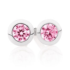 Pink Cubic Zirconia & Sterling Silver Stud Earrings