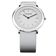 Ladies Watch in Stainless Steel & White Leather