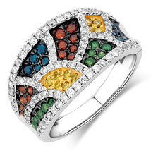 City Lights Ring with 1.23 Carat TW of Enhanced Multi-Coloured Diamonds in 10kt White Gold