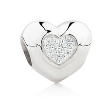 Love You Mom' Charm with Cubic Zirconia in Sterling Silver