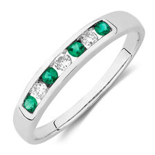 Ring with Created Emerald and Diamonds in 10kt White Gold