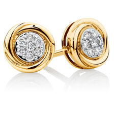 Swirl Stud Earrings with Diamonds in 10ct Yellow Gold