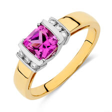 Ring with Created Pink Sapphire & Diamonds in 10ct Yellow & White Gold