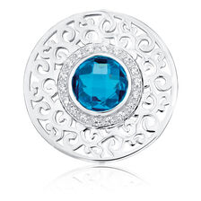 Aqua Cubic Zirconia & Sterling Silver Coin Pendant Insert