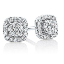 Stud Earrings with Diamonds in Sterling Silver