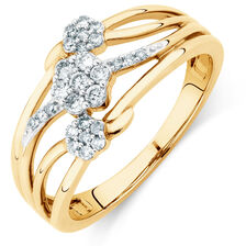 Online Exclusive - Ring with 1/4 Carat TW of Diamonds in 10ct Yellow & White Gold